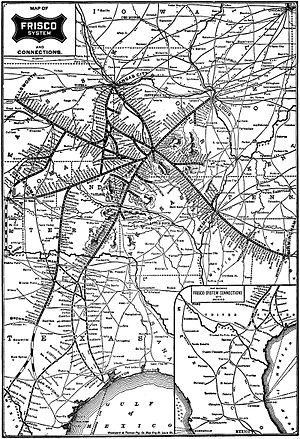 Fort Worth and Rio Grande Railway - Image: Frisco system map circa 1901
