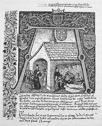 "Alexandre Auffredi - Front page of the accounting book (""Cartulaire"") of Auffredi, showing Alexandre Auffredi taking care of sick people in his hospital, 13th century."