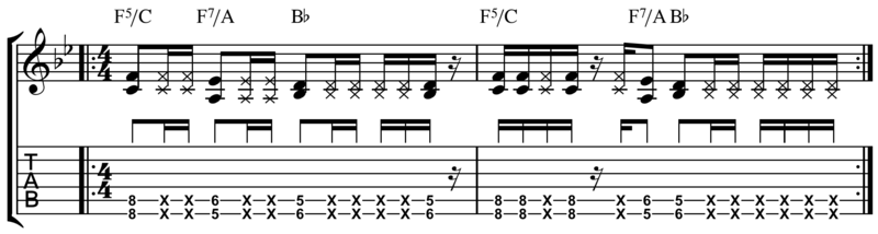Vamp riff typical of funk and R&B. Play (help*info) Funk & R&B vamp riff.png