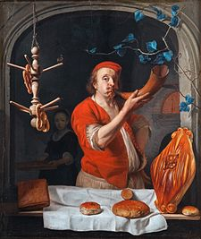 Gabriël Metsu (1629-1667), A Baker Blowing his Horn, c.1660-3..jpg