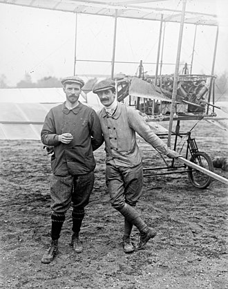 Flying boat - Gabriel Voisin, air pioneer, who made one of the earliest flights in a seaplane, with Henry Farman (left), in 1908.