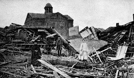 Homes in Galveston were reduced to timbers by the hurricane winds and floods caused by the Galveston Hurricane of 1900. Galveston - 1900 homes.jpg