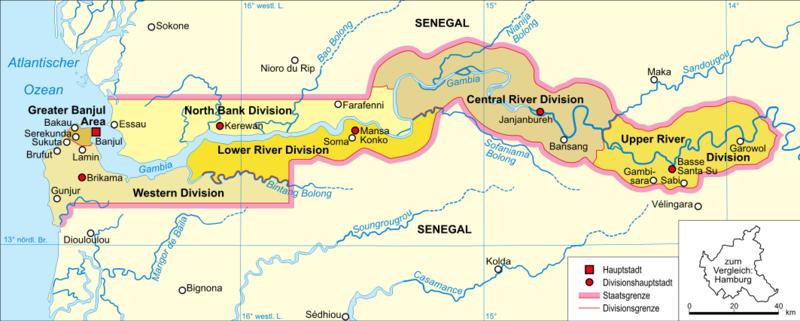 Politische Karte Gambias