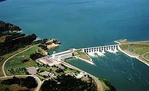 Gavins Point Dam - The power house and concrete section of the dam