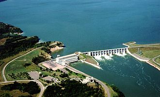 Gavins Point Dam - Gavins Point Dam on the Missouri River, impounding Lewis and Clark Lake.
