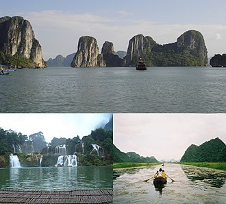 Nature attractions in Vietnam, clockwise from top: Ha Long Bay, Yen River and Ban-Gioc Waterfalls Geography of Vietnam.jpg