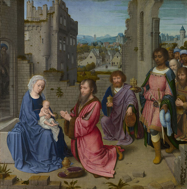 Gerard David, Adoration of the Kings, National Gallery, London, 1515-1523 Gerard David - Adoration of the Kings - Google Art Project.jpg