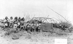 Apache Wars - Geronimo and his warriors at camp on March 27, 1886