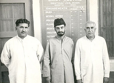 Mir Gul Khan Nasir (Left), Sardar Ataullah Mengal (Middle) and Mir Ghaus Bakhsh Bizenjo (Right)