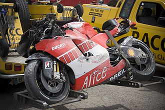 Sete Gibernau - The remains of Gibernau's motorcycle after his crash at Barcelona in 2006.