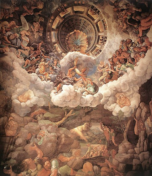 Mannerism's most famous fresco: Giulio Romano's illusionism invents a dome overhead and dissolves the room's architecture in the Fall of the Giants.