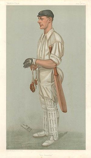 "Gilbert Jessop - ""the Croucher"" Jessop as caricatured by Spy (Leslie Ward) in Vanity Fair, July 1901"
