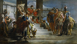 Scipio Africanus - In this painting by Tiepolo, Scipio Africanus is shown releasing the nephew of the Prince of Nubia after he was captured by Roman soldiers. The Walters Art Museum.
