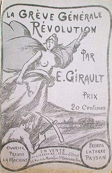 Portada del libro de Ernest Girault ilustrado por Jules Hénault:The General Strike and the Revolution.