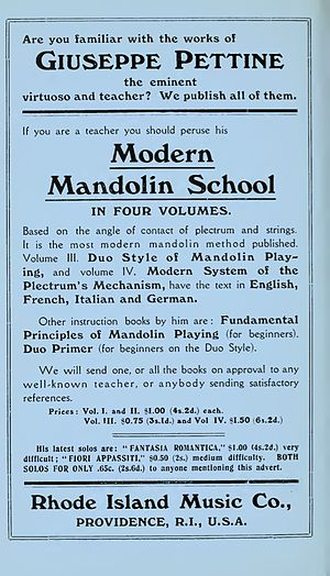 Giuseppe Pettine - 1914 advertisement for mandolin instruction books by Pettine from the book The Guitar and Mandolin by Philip J. Bone.