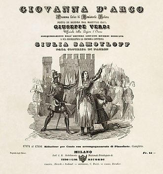 Giovanna d'Arco - Title page of a variant of the first edition vocal score of Giovanna d'Arco