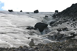 Glacial transport of boulders. These boulders will be deposited as the glacier retreats.