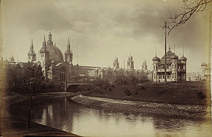 John Keppie - The Main Building at Glasgow International Exhibition of 1888, from the banks of the River Kelvin, design by James Sellars assisted by Keppie