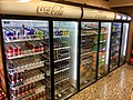 Glass door freezer display cabinets refrigerator chiller showcase for soft drinks (Coca Cola, Red Bull, Pepsi, etc.) in Spar Supermarket in Tjøme, Norway 2017-12-05.jpg