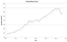 Graph of shark catch from 1950 to 2004, linear growth from less than 300,000 tons per year in 1950 to about 850,000 per year in 2000, before falling below 800,00 in the 2006-08 period.