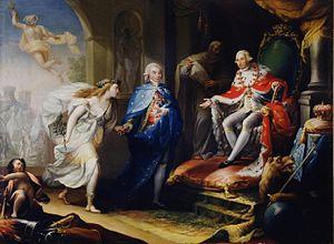 José Aparicio - Image: Godoy presentando la paz a Carlos IV (Real Academia de Bellas Artes de San Fernando)