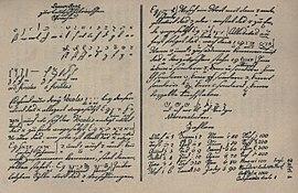 Anweisung zur teutsch-hebräischen Sprache in Goethes eigener Handschrift (oben, links: das hebräische Alphabet). Etwa 1760. (Quelle: Wikimedia)