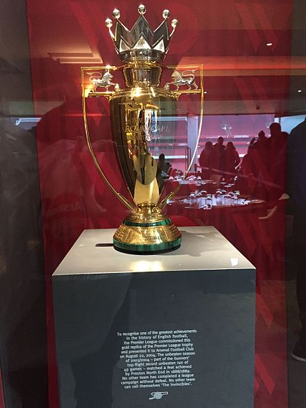 After Arsenal completed the only 38-match season unbeaten, the Premier League commissioned a unique gold trophy to commemorate the achievement. Arsene Wenger was presented the trophy as a parting gift from the club after his last home game as manager on 6 May 2018. GoldInvinciblesTrophy.jpg