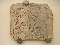 Early christian image of Christ as the Good Shepherd. Second Century A.D. Museo Epigraphico, Rome (foto: kleuske)