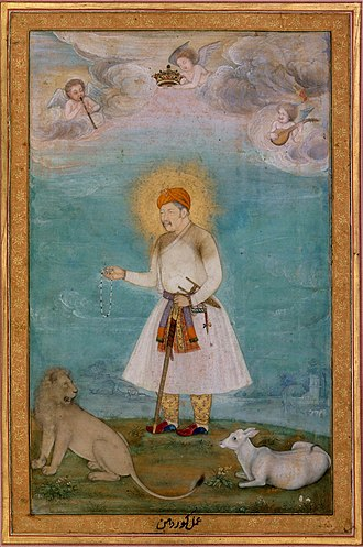 Govardhan (Mughal painter) - Govardhan. Akbar With Lion and Calf ca. 1630, Metmuseum.