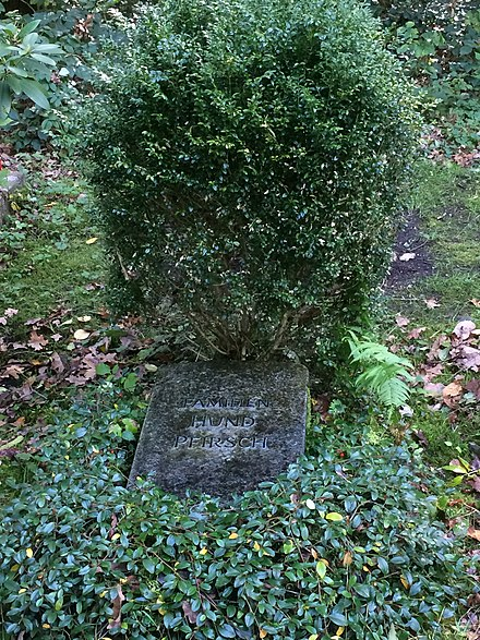 Hund-Pfirsch family grave in Munich Waldfriedhof, where also Friedrich Hund is buried