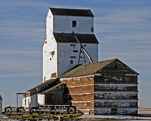 "Grain elevator - Typical ""wood-cribbed"" design for grain elevators throughout Western Canada. A common design used from the early 1900s to mid-1980s. Built in 1925, the former Ogilvie Flour Mill elevator in Wrentham, Alberta, Canada."