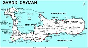 Mastic Reserve - Map of Grand Cayman showing the site of the Mastic Trail