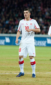 Granit Xhaka - Switzerland vs. Argentina, 29th February 2012.jpg