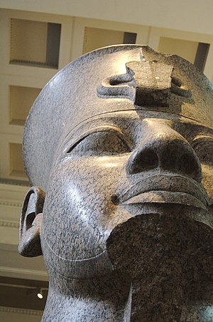 Colossal red granite statue of Amenhotep III - The granite statue from below