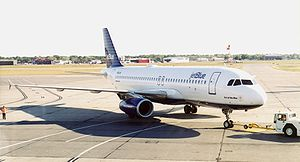 Greater Rochester International Airport - A JetBlue Airbus A320 being towed to gate B2