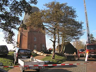 St. Jude storm - The Oost Mühle, Greetsiel. The mill's cap is on the ground at right.