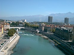 The Isère in the center of Grenoble.