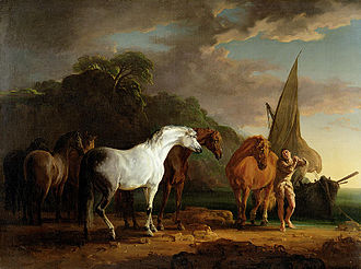 Houyhnhnm - Gulliver Taking His Final Leave of the Land of the Houyhnhnms, Sawrey Gilpin, 1769
