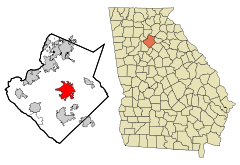 Gwinnett County Georgia Incorporated and Unincorporated areas Lawrenceville Highlighted.svg