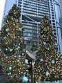 HK Central Statue Square Gardens Chritmas Tiffany evening trees Dec-2012.JPG