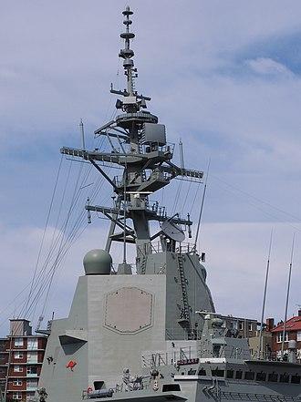 Hobart-class destroyer - Image: HMAS Hobart upper superstructure and mast December 2017