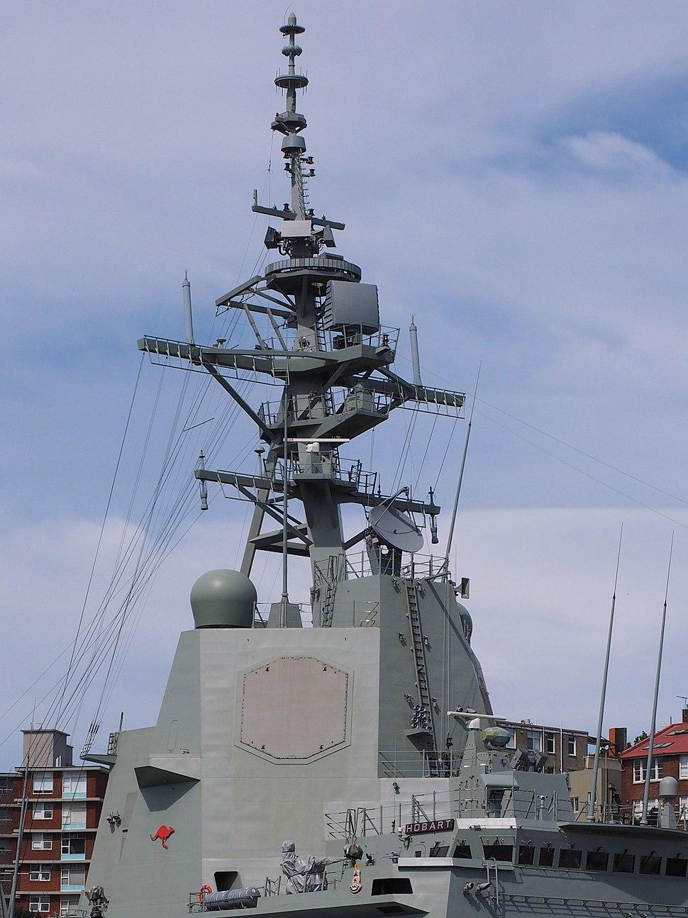 HMAS Hobart upper superstructure and mast December 2017