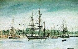 Die HMS Beagle auf einem Aquarell von Owen Stanley (1841)