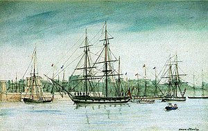 HMS Beagle - In 1837 HMS Beagle set off on a survey of Australia, and is shown here in an 1841 watercolour by captain Owen Stanley of Beagles sister ship HMS Britomart.
