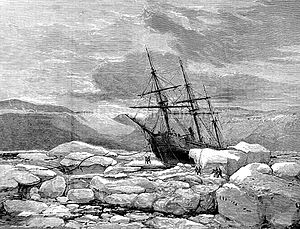 HMS Alert (1856) - HMS Alert pushed aground by ice, Radmore Harbour, 1875–1876 (Illustrated London News, 1876)