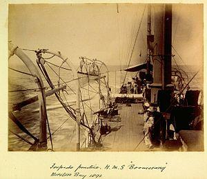 HMS Boomerang torpedo practice Moreton Bay 1892.jpg