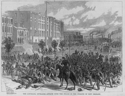 "Image of mobs rioting entitled ""The Louisiana Outrage"". White Leaguers at Liberty Place attacked the integrated police force and state militia, New Orleans, September 1874. Published October 1874 Harpers1874LouisianaOutrage.jpg"
