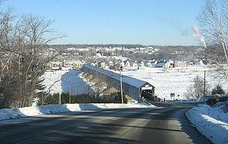 Hartland, New Brunswick - Hartland Bridge, with Hartland in the background