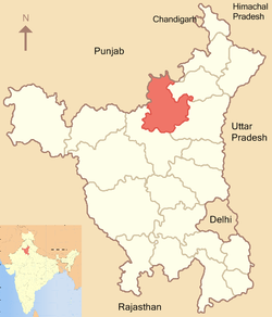 Location of Kaithal district in Haryana