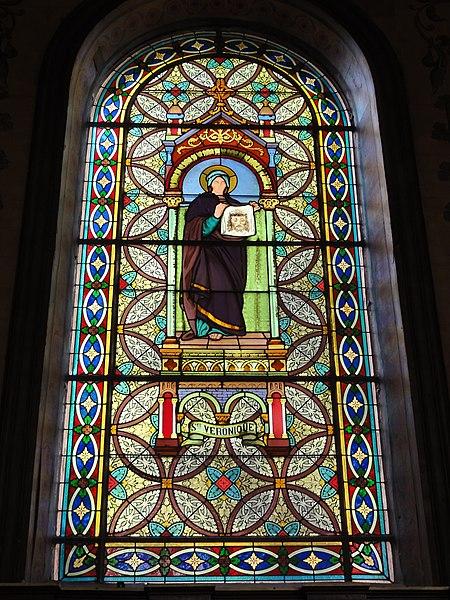 Haspres (Nord, Fr) église, vitrail Sainte Véronique